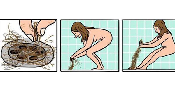 Laisser leurs cheveux au fond de la douche